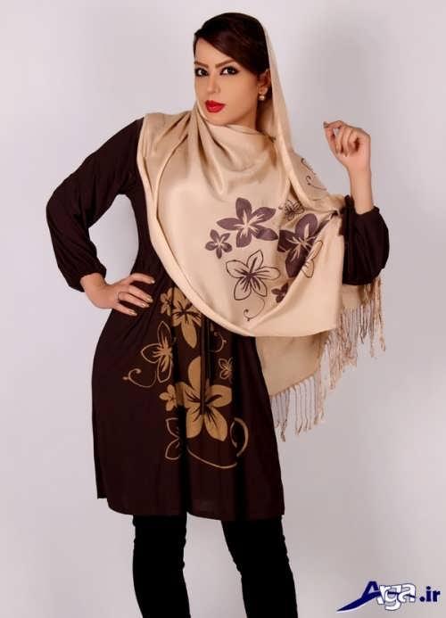 عکس روسری تک رنگ مدل مانتو نخی جلو بسته بسیار شیک با طرح های جدید