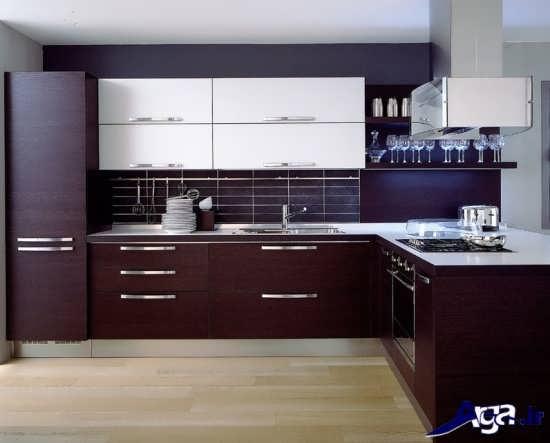 دکوراسیون مدرن آشپزخانه زرشکی