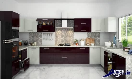 دکوراسیون آشپزخانه سفید زرشکی