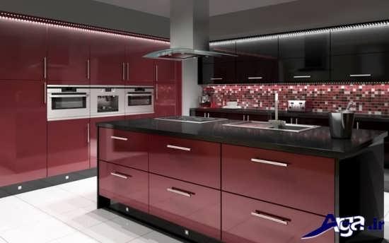 دکوراسیون جدید آشپزخانه مشکی زرشکی