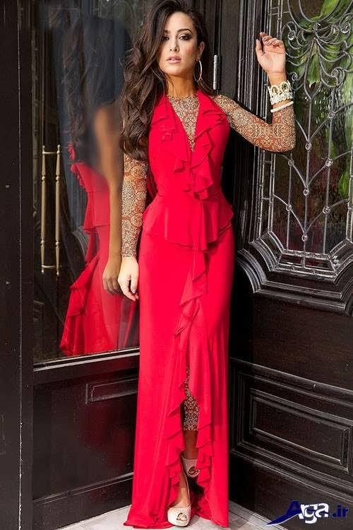 مدل لباس ریون قرمز