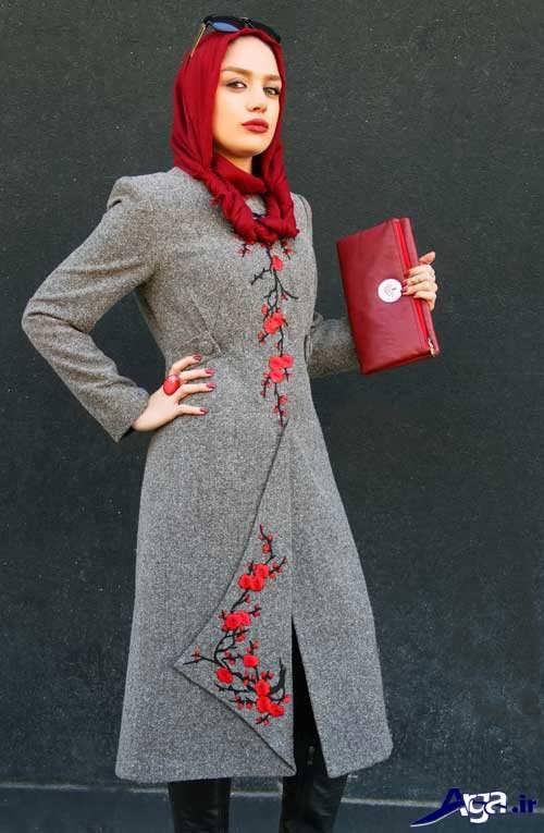 طرح گلدوزی روی لباس مجلسی