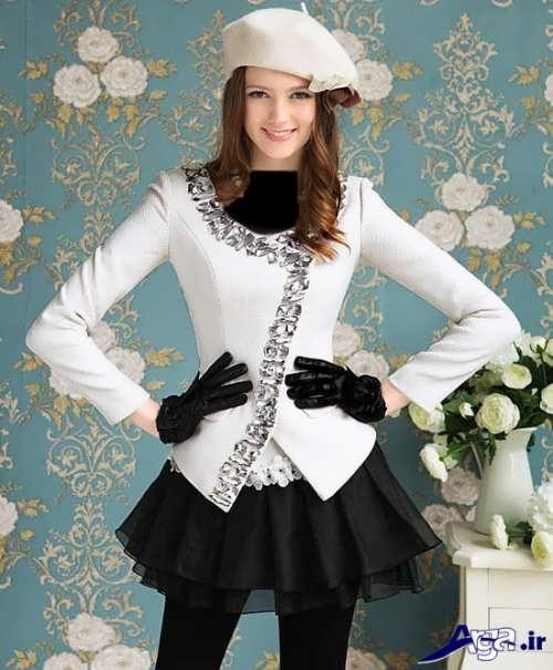 مدل لباس مجلسی سیاه و سفید دخترانه