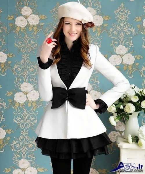 مدل لباس مجلسی سیاه و سفید فانتزی