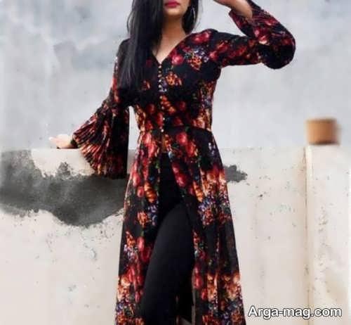 مدل مانتو نخی گلدار دخترانه