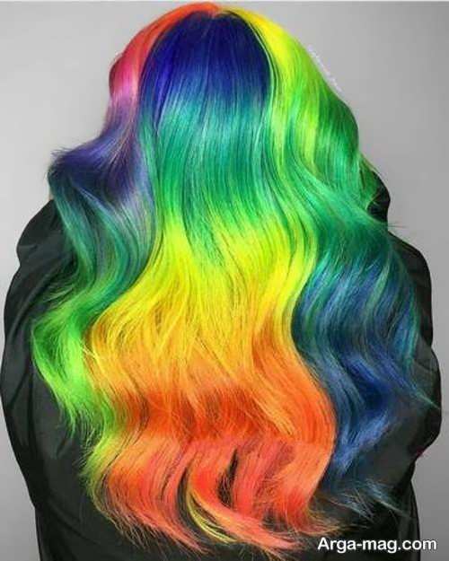 مدل رنگین کمانی رنگ موی دخترانه