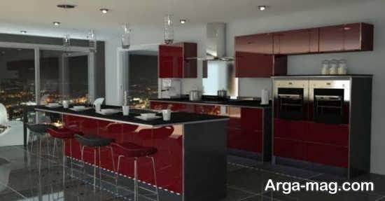 زیبا شدن فضای آشپزخانه با قرمز و مشکی