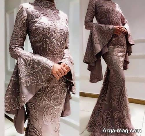 مدل لباس مجلسی آستین بلند شیک