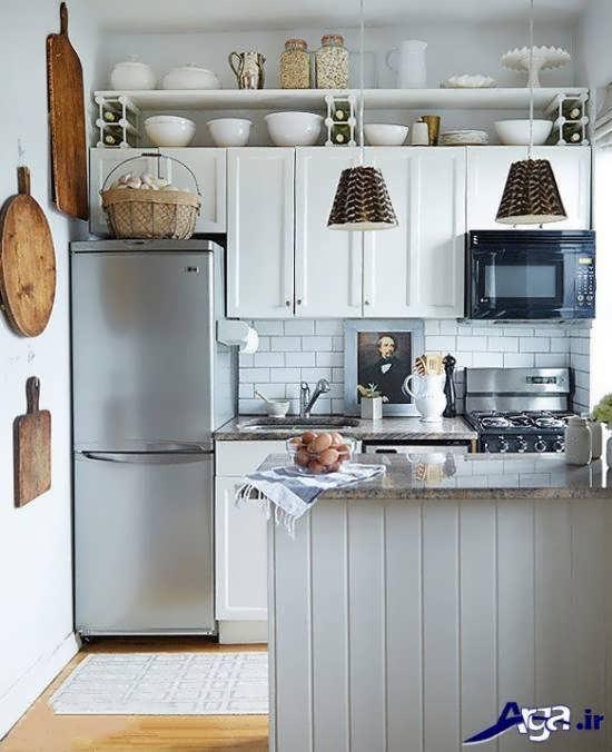 مدل کابینت سفید در آشپز خانه کوچک