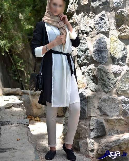 مدل مانتو سیاه و سفید تابستانی