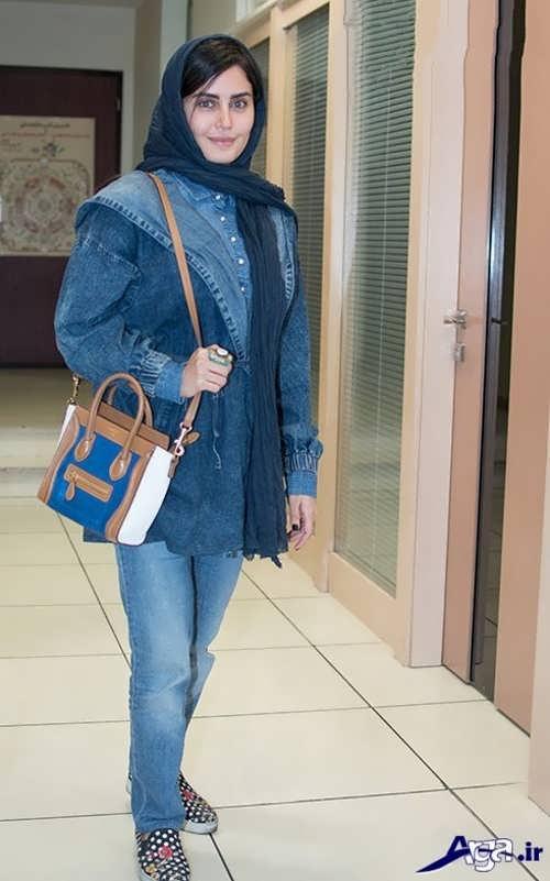 مدل مانتوی الناز شاکردوست با طرح جین و زیبا