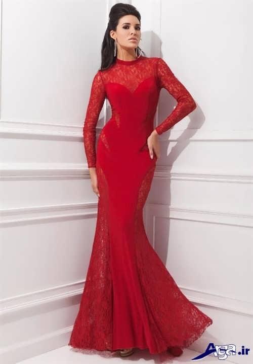 مدل لباس مجلسی قرمز و پوشیده