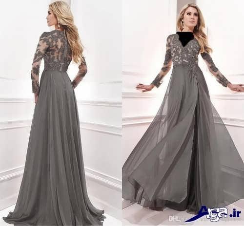 مدل لباس مجلسی آستین بلند کار شده با گیپور