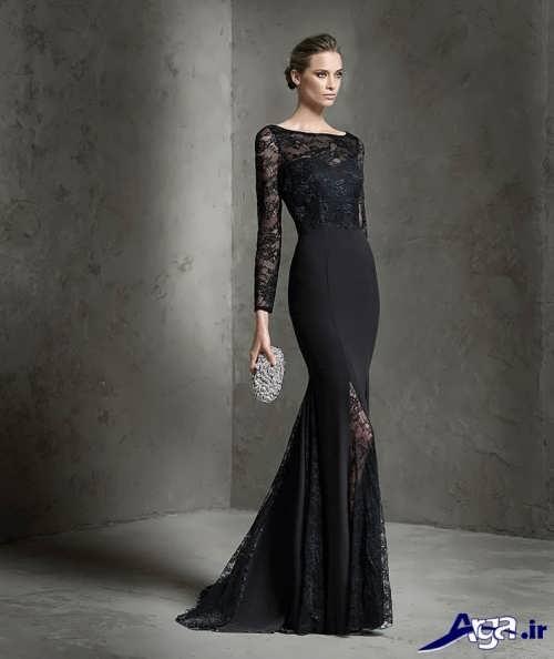 مدل لباس مجلسی آستین دار کار شده با گیپور