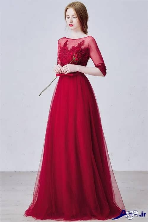 مدل لباس مجلسی قرمز آستین بلند