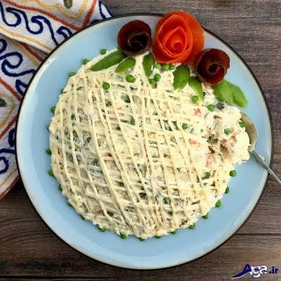 روش پخت سالاد الویه با مرغ