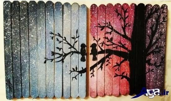 مدلهای مختلف نقاشی زیبا بر روی چوب بستنی