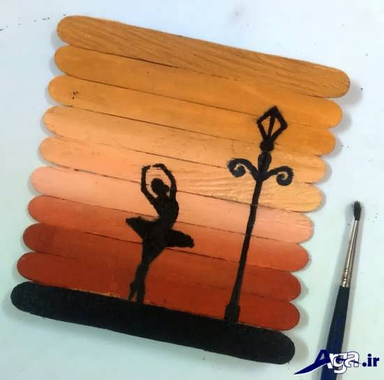 طرح زیبا و نقاشی بر روی چوب بستنی