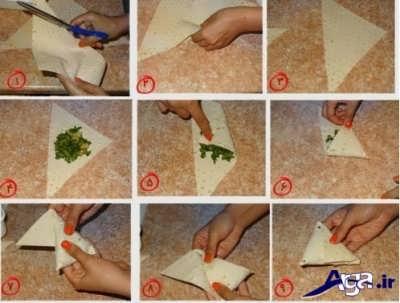 مراحل تهیه سمبوسه بدون گوشت