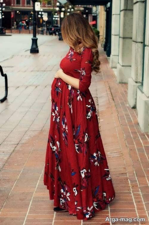 مدل زیبای پیراهن بارداری حریر