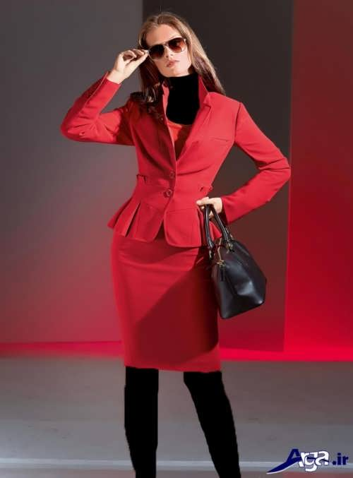 مدل کت و دامن قرمز زنانه