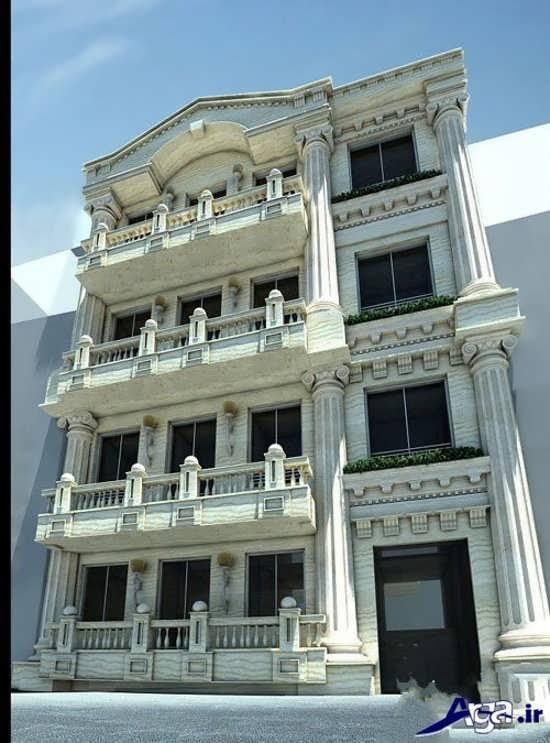 ساختمان چهار طبقه با معماری مدرن