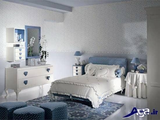 طراحی داخلی اتاق خواب با پارچه آبی