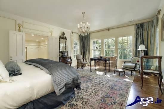 طراحی داخلی اتاق خواب با لوستر