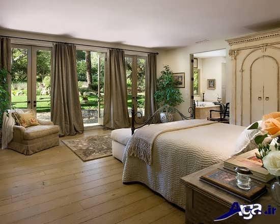 طراحی داخلی اتاق خواب با گل وپرده