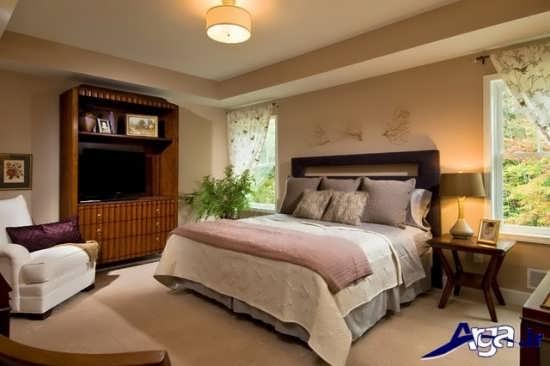 طراحی داخلی اتاق خواب با پرده