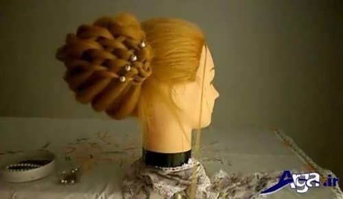 مدل شینیون همراه با بافت موی حصیری