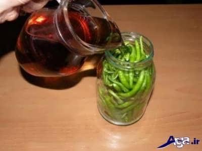 ترشی فلفل سبز شیرین وتند