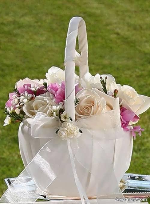 ایده تزیین سبد گل عروس با روبان