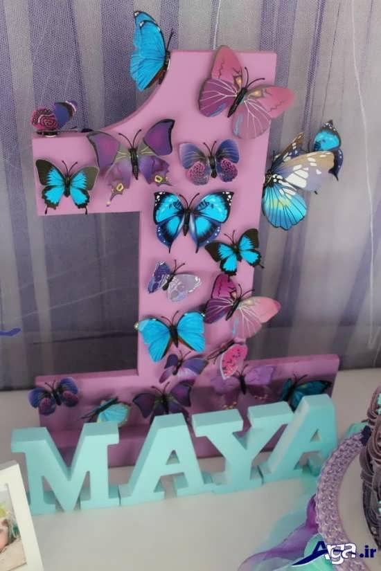 تم تولد گل و پروانه برای دختر بجه ها