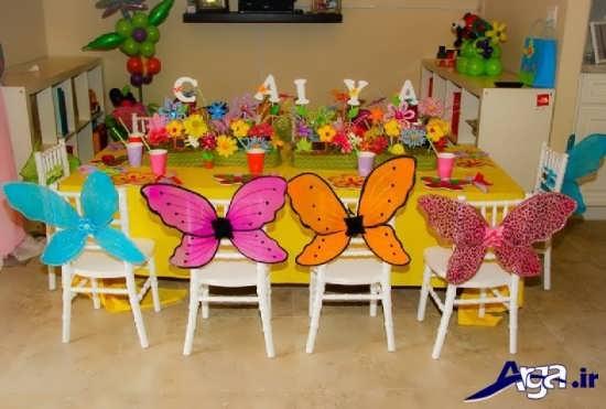تزیین جشن تولد با تم گل و پروانه