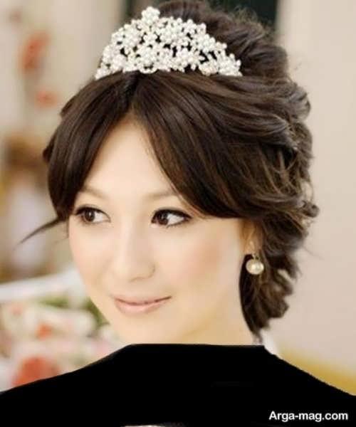 مدل موی کره ای عروس برای صورت گرد