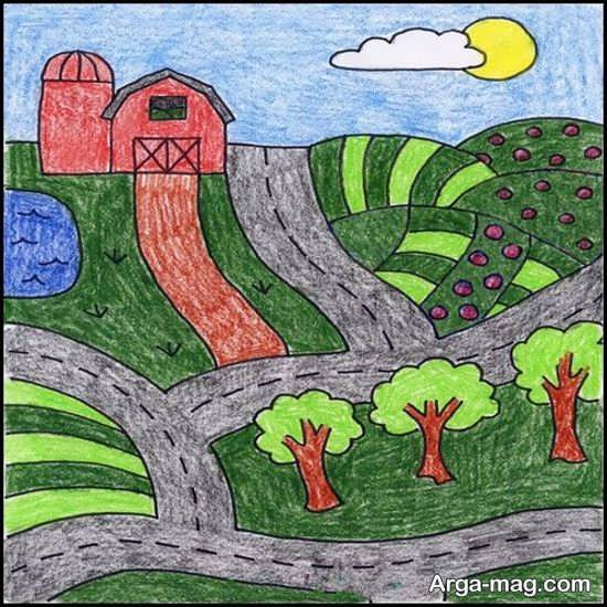 نقاشی طبیعت کودکانه جدید
