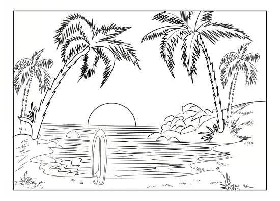 نقاشی درخت و دریا