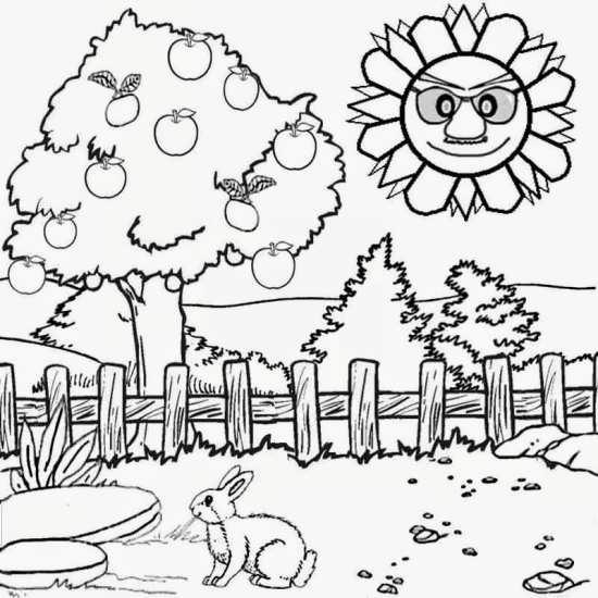 نقاشی درخت و خورشید