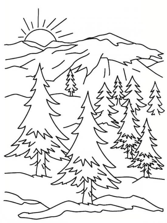 نقاشی خورشید و درخت