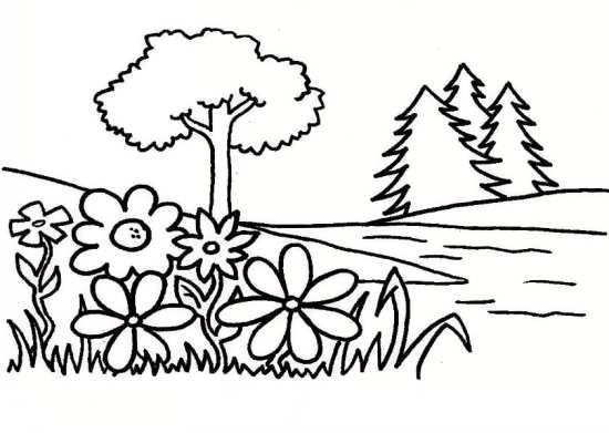 نقاشی درخت و گل