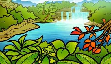 نقاشی طبیعت کودکانه برای رنگ آمیزی