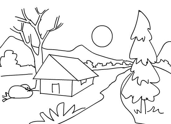 kids coloring pages scenery hill - photo#2