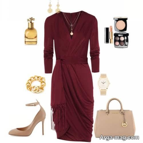 ست لباس مجلسی با رنگ زرشکی