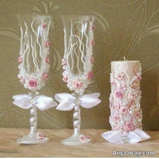 تزیینات زیبای شمع با روبان