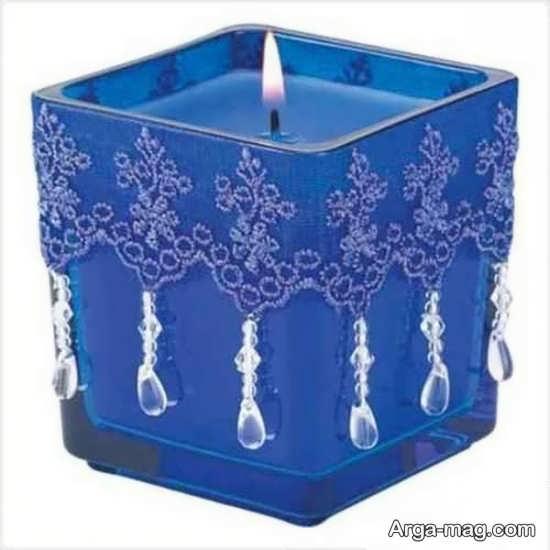 تزئینی شیک از شمع با روبان