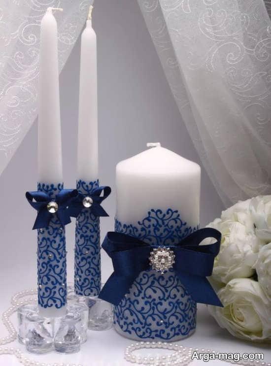 انواع تزیینات شمع با روبان