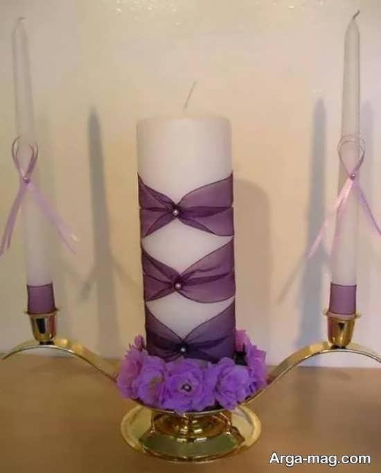 تزیینات شمع استوانه ای با روبان