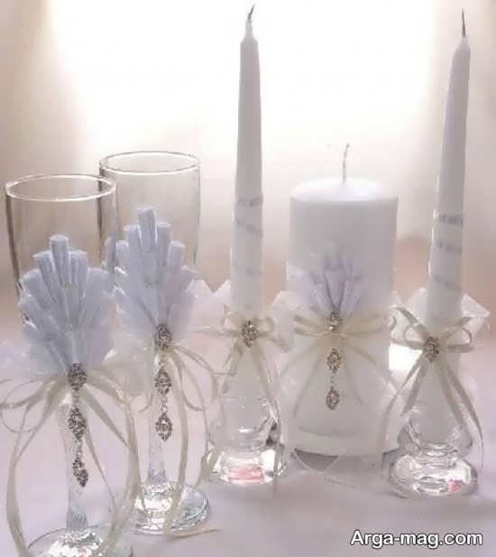 ایده تزیینات شمع با روبان