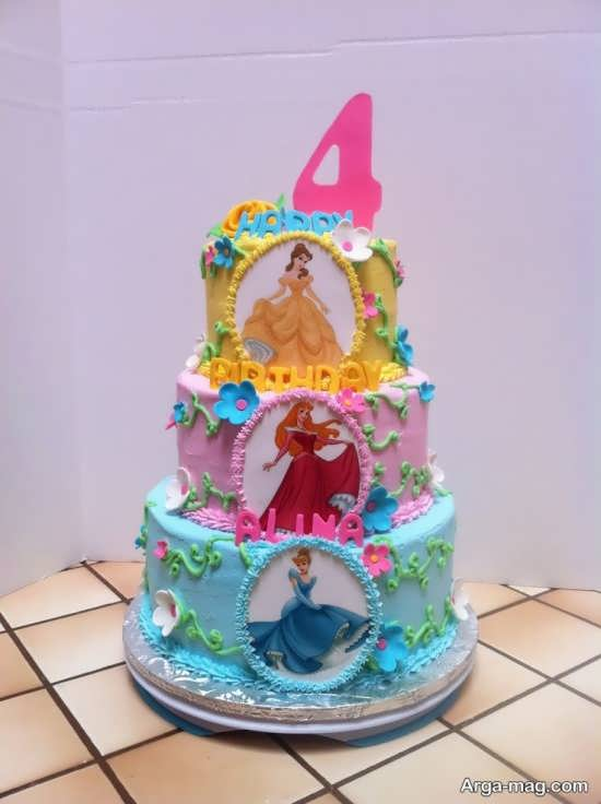 انواع کیک تزیین شده با تم تولد پرنسس های والت دیزنی